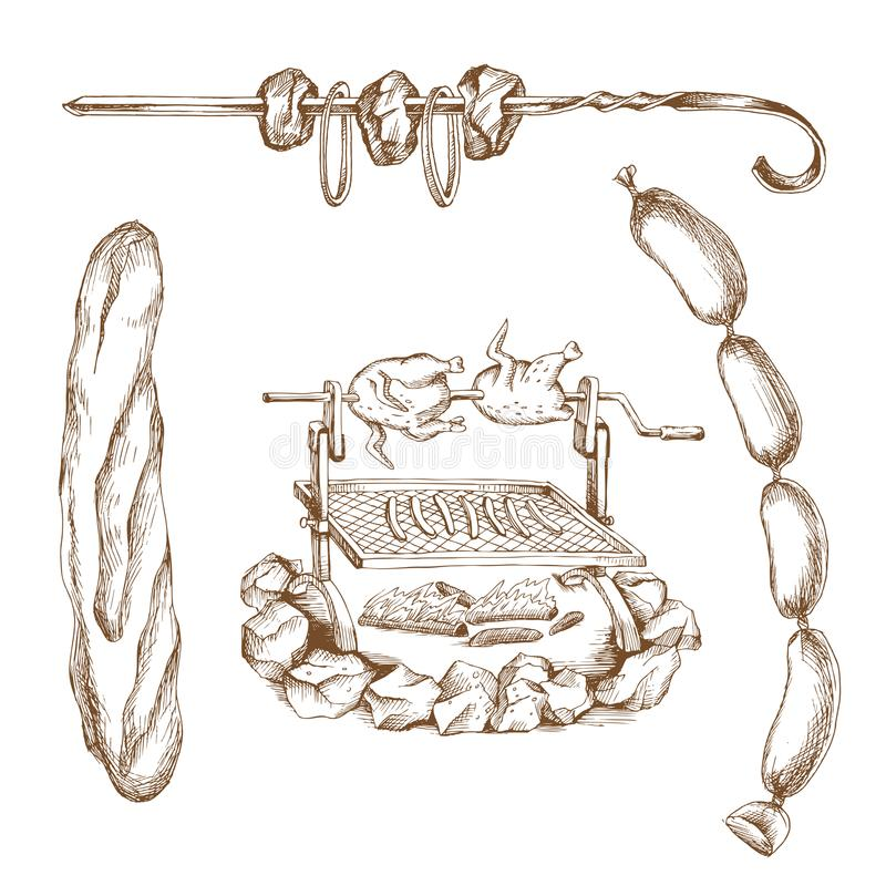 Hand drawn picnic set: grill, baguette, bunch of sausages,barbecue. Engraving art. Meat products for banner an vector illustration