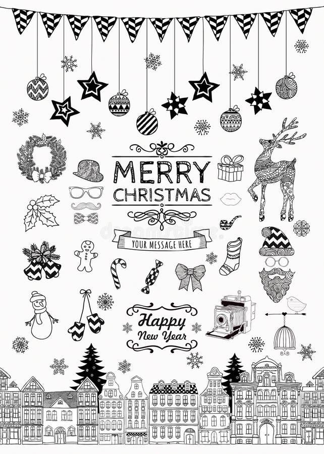 Hand-drawn Pictogrammen en de Elementen van de Kerstmiskrabbel stock illustratie