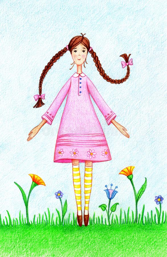 Hand drawn picture of girl in pink dress standing on lawn. By the color pencils royalty free illustration