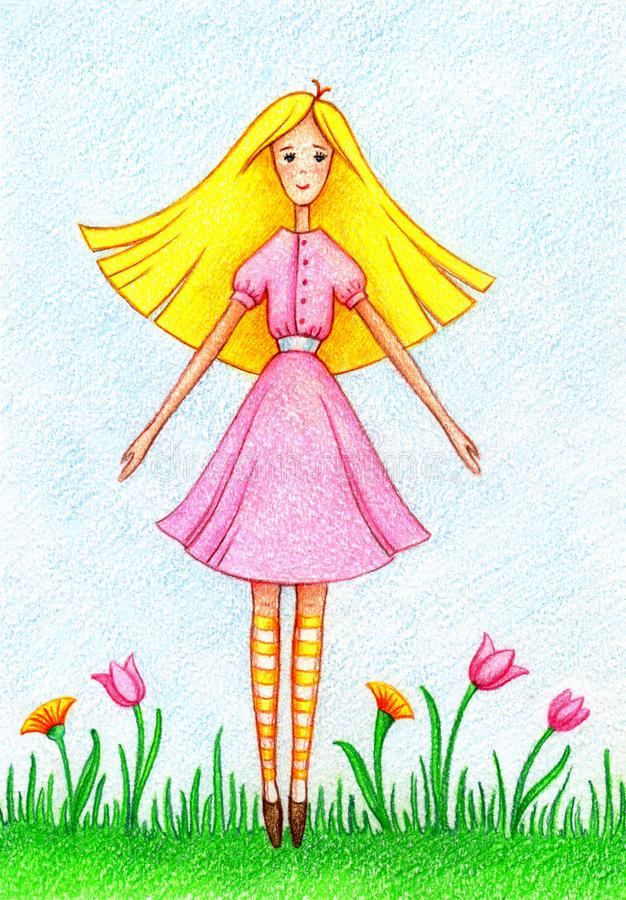 Hand drawn picture of girl standing on lawn. By the color pencils stock illustration