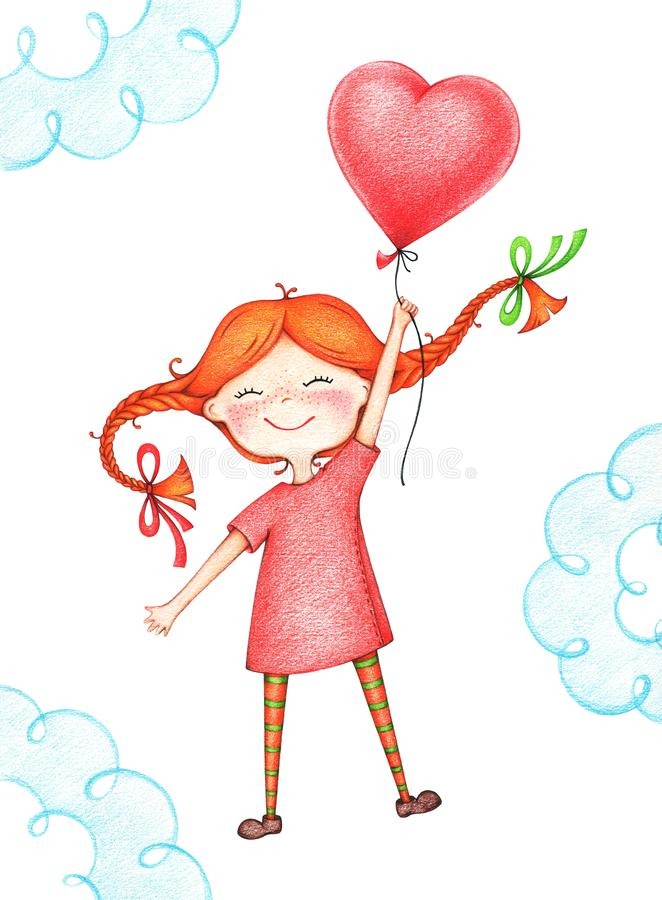 Hand drawn picture of kid flying with red balloon by the color pencils. Illustration of sentimental happy girl vector illustration