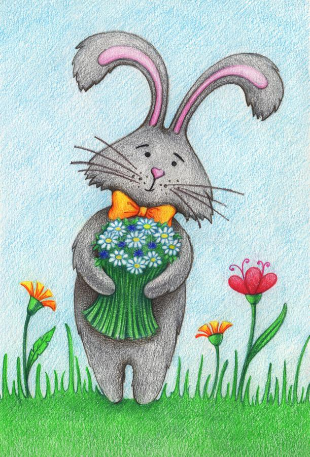 Hand drawn picture of little nice bunny with flowers. Hand drawn picture of little nice bunny bouquet of flowers by the color pencils vector illustration