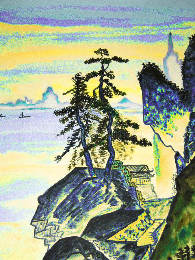 Hand drawn picture, in traditions of old Chinese art royalty free illustration