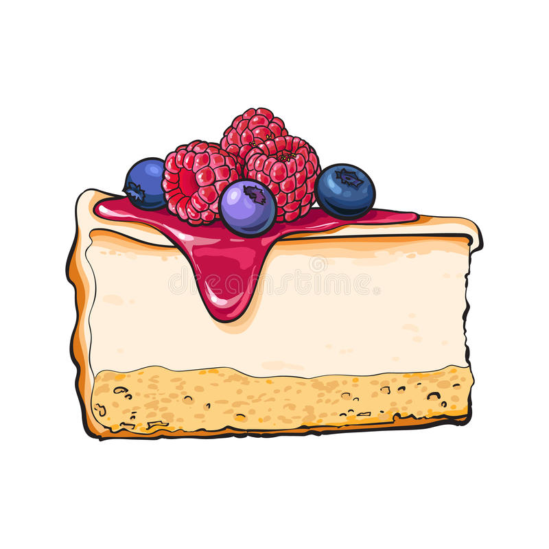 Hand drawn piece of cheesecake decorated with fresh berries. Sketch style vector illustration isolated on white background. Realistic hand drawing of piece royalty free illustration