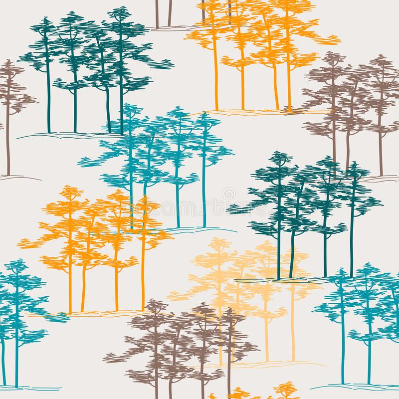 Hand drawn pine grove, seamless pattern, architect sketch.  royalty free illustration