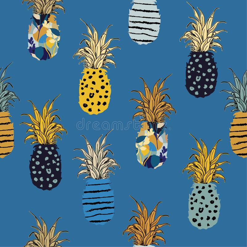 Hand drawn pineapple fill-on with hand sketch line pattern seamless ,vector design for fashion,fabric,wallpaper,and all prints. On summer blue background vector illustration