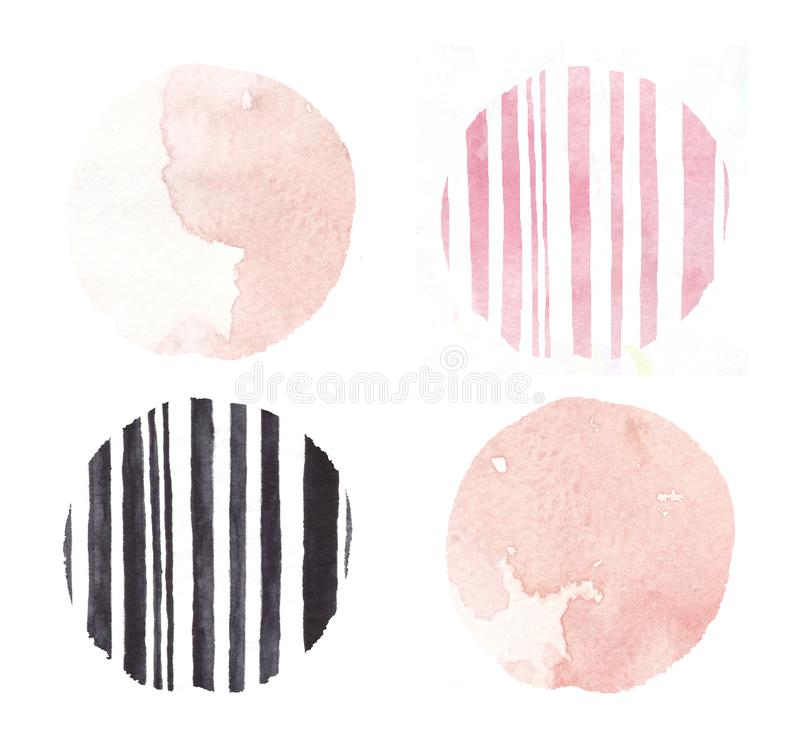 Hand drawn pink barcode circle splashes watercolor set, circle watercolor. Coral splash royalty free illustration