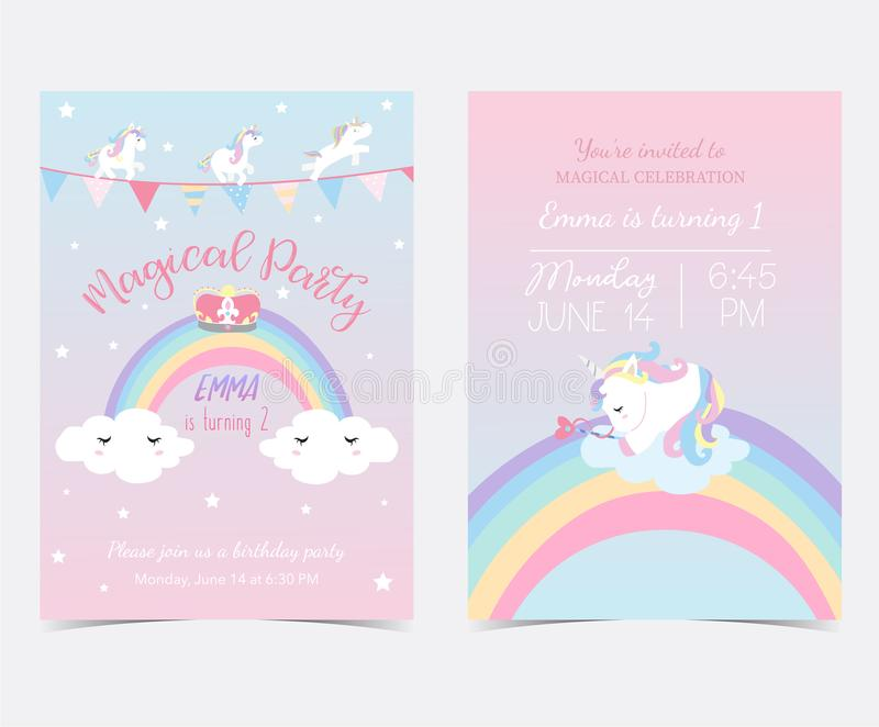 Hand drawn pink blue card and label with sleep unicorn,flag,rainbow,cloud,star and crown stock illustration