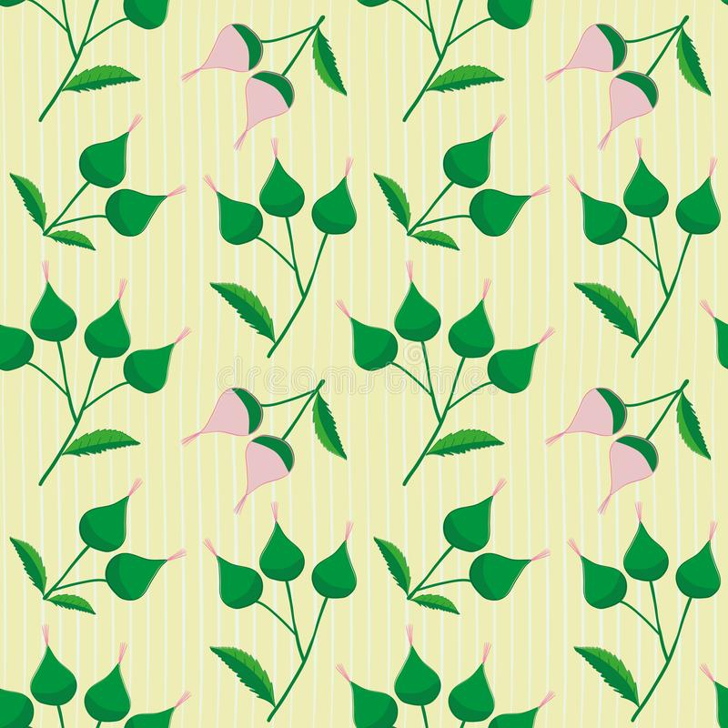 Hand drawn pink and green flower buds on a subtly striped light yellow background. Fresh seamless vector pattern with stock illustration