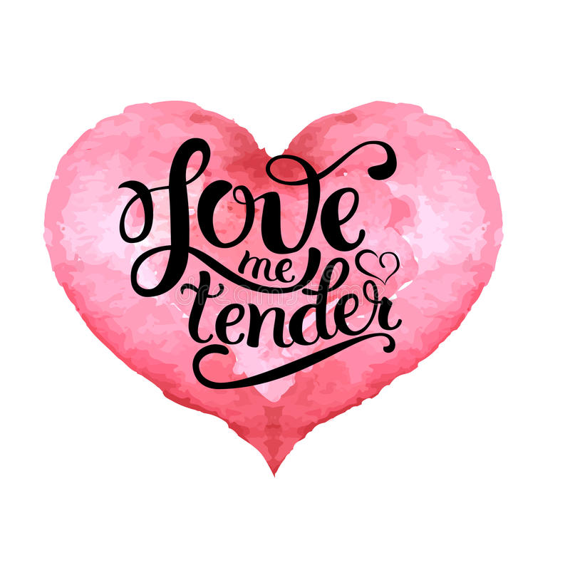 Hand drawn pink heart with lettering royalty free illustration