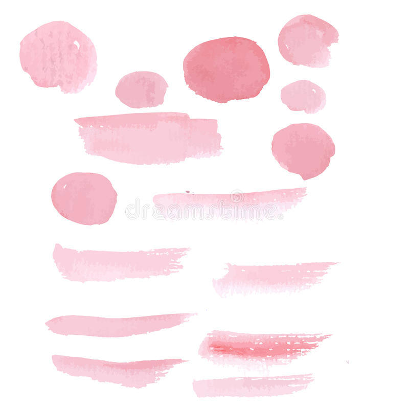 Hand drawn pink paint brushstroke watercolor. Hand drawn pastel color pink paint brushstroke watercolor royalty free illustration