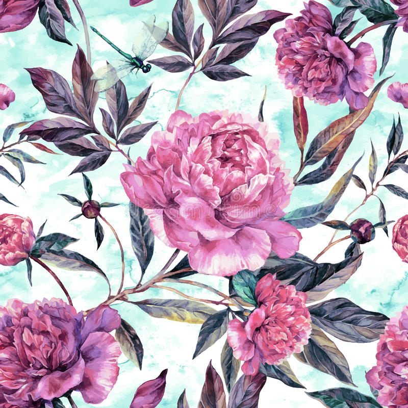 Hand drawn pink peonies bouquet seamless pattern royalty free illustration