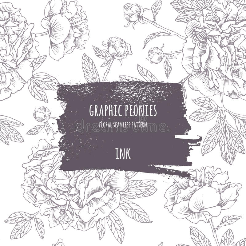Hand-drawn pink peonies. Vector graphic flowers. royalty free illustration