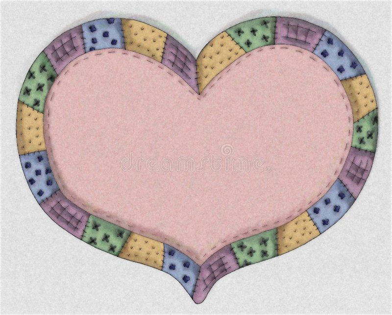 Hand Drawn Pink Quilt Heart Stock Photos