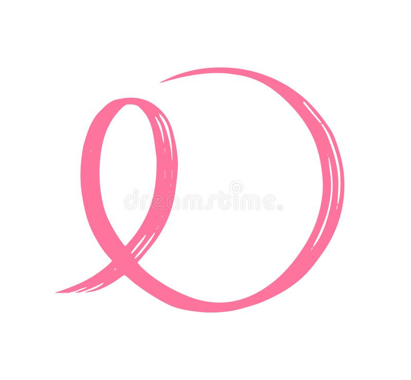 Hand drawn pink ribbon. Symbol of the fight against breast cancer. royalty free illustration