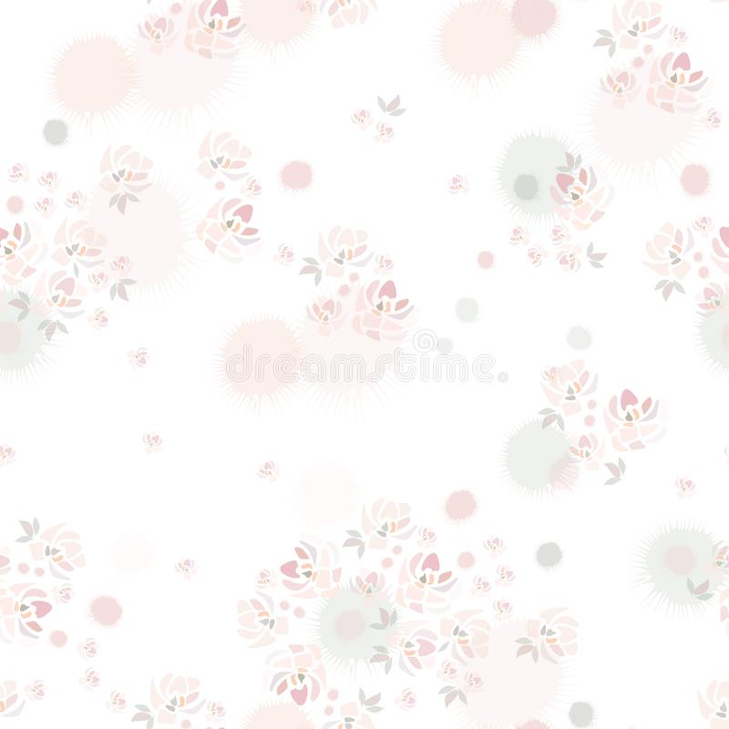 Hand drawn pink roses flowers on white background like watercolor painting. royalty free illustration