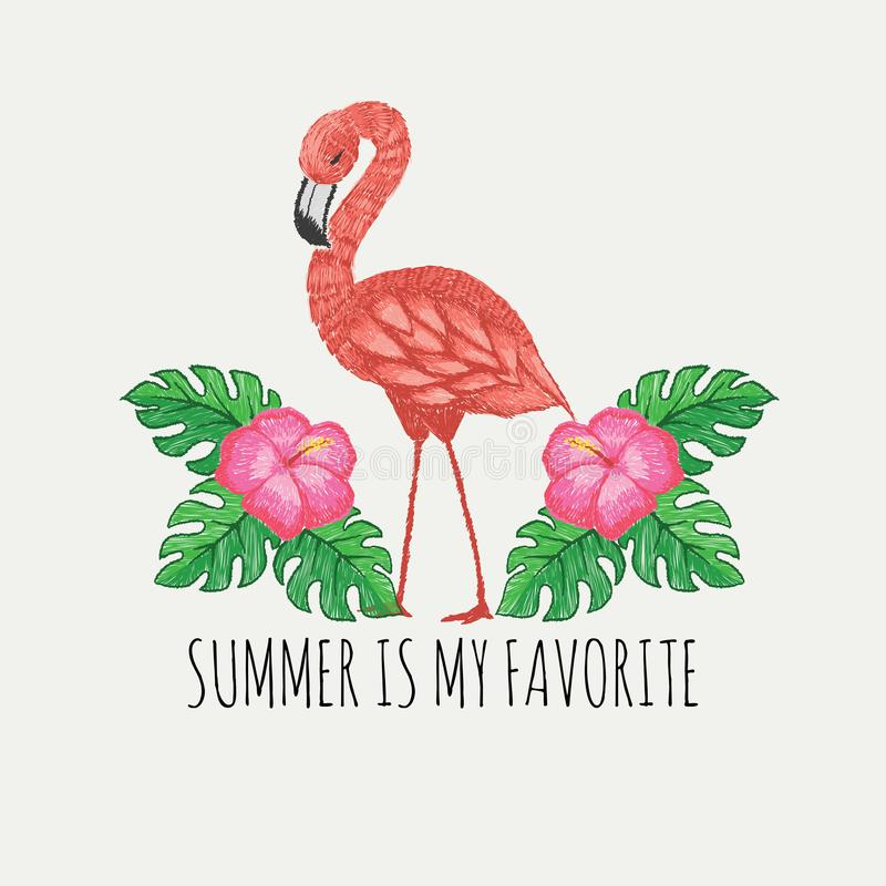 Hand drawn pinky flamingo and tropical flowers and leaves with slogan to glam to give a damn,for t shirt printing and embroidery, royalty free illustration