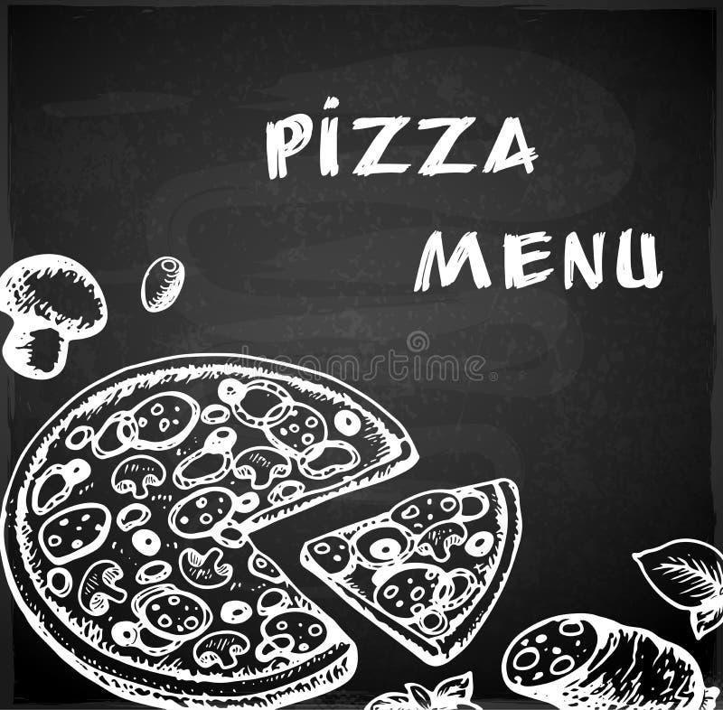 Hand drawn pizza menu royalty free illustration