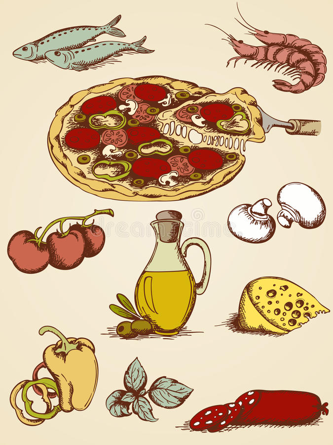 Hand drawn pizza set. Set of hand drawn pizza icons stock illustration