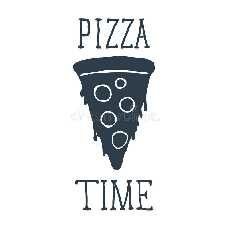 Hand drawn pizza slice with Pizza Time lettering. Vector. Illustration vector illustration