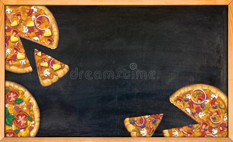 Hand drawn pizzas on a black chalk board royalty free illustration