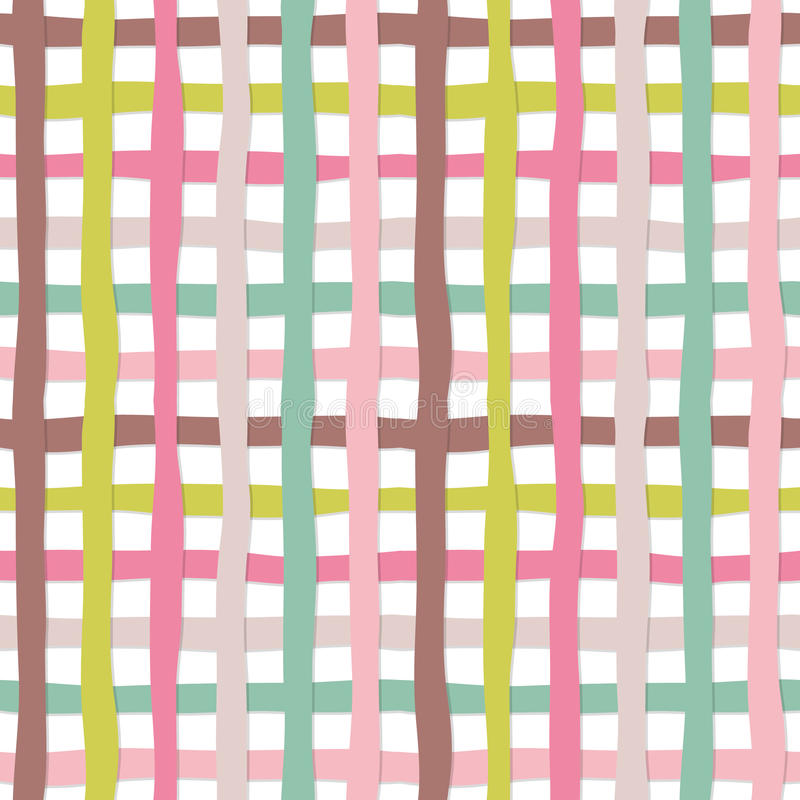 Hand drawn plaid seamless pattern background. Colorful plasticine stripes texture. For print and web. royalty free illustration