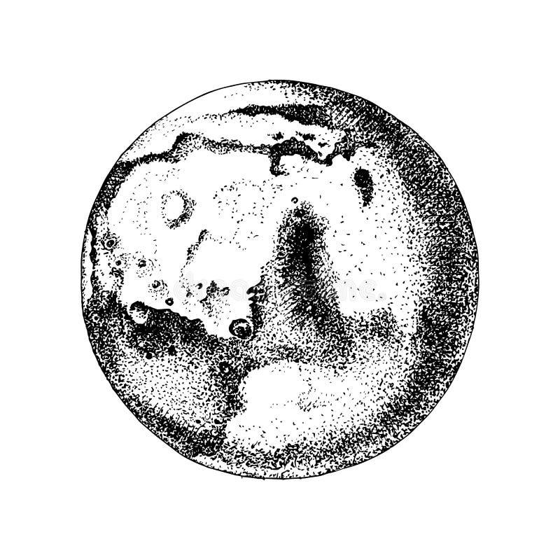 Hand drawn planet Mars. Hand drawn black and white planet Mars. Vector illustration stock illustration