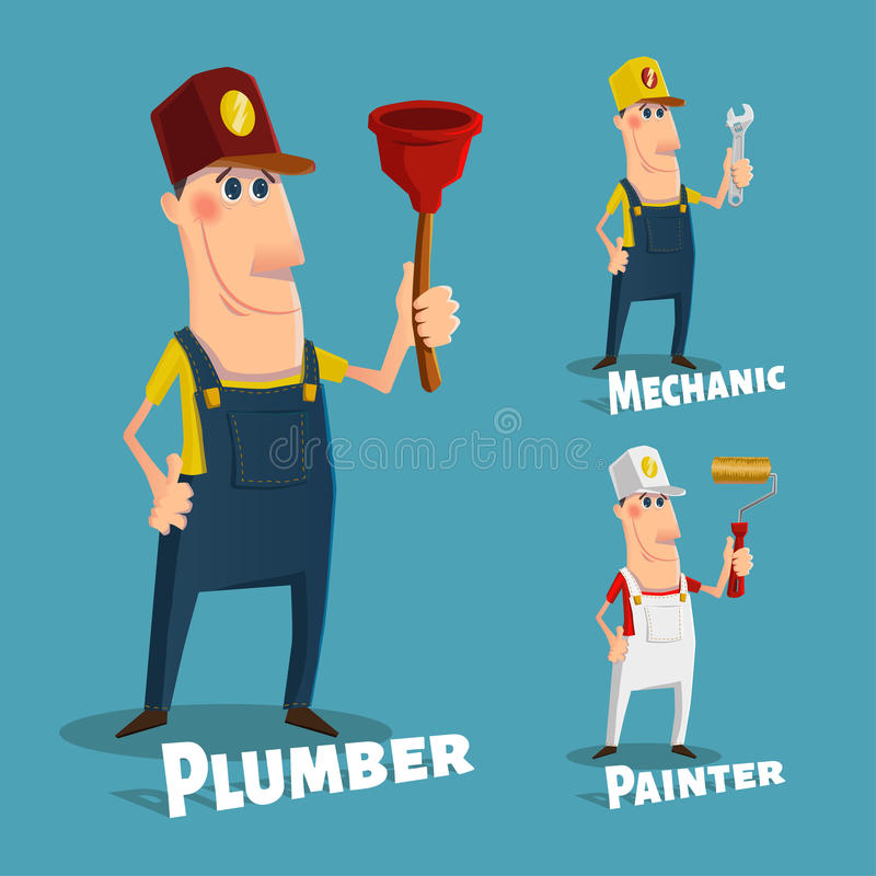 Hand Drawn Plumber,painter And Mechanic Characters Stock Vector ...