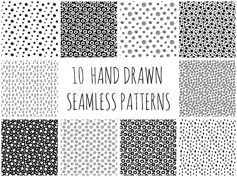Hand Drawn Polka Dot Seamless Patterns Collection royalty free stock images