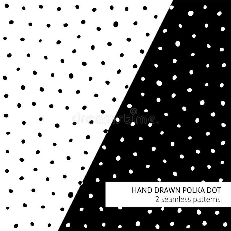 Hand drawn polka dot patterns vector illustration