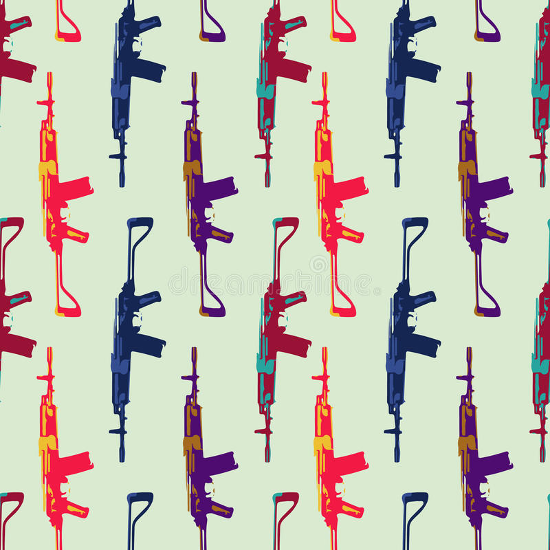 Hand drawn pop art pattern with colorfull stock illustration