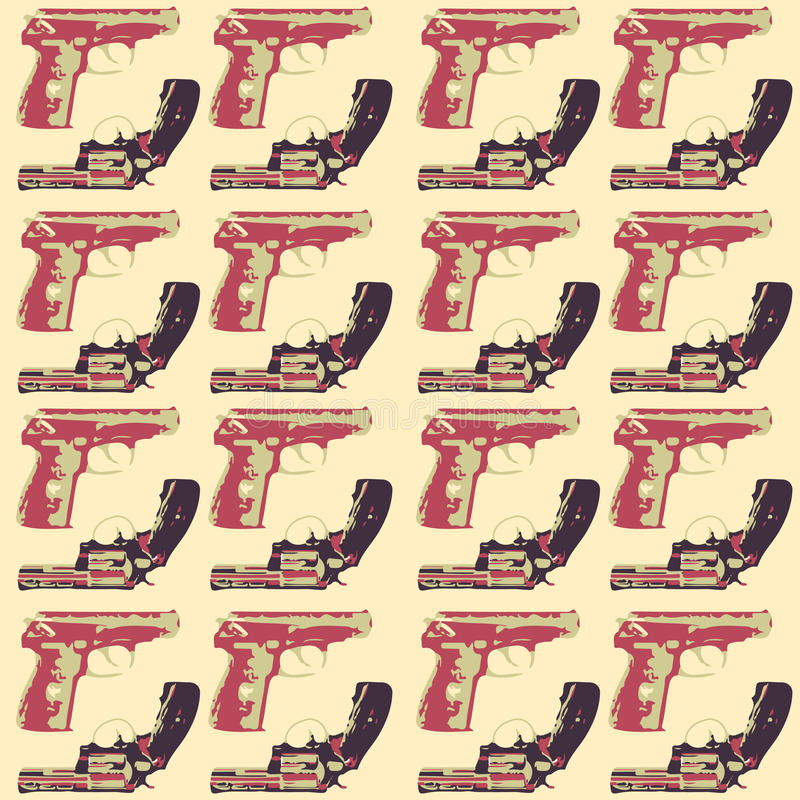 Hand drawn pop art seamles pattern with colorfull guns. Hand drawn pop art seamles pattern vector illustration