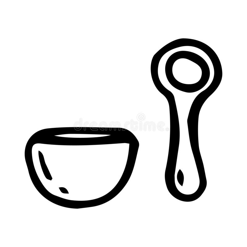 Hand Drawn porridge doodle. Sketch style icon. Decoration element. Isolated on white background. Flat design. Vector illustration. Abstract, baby, banner stock illustration