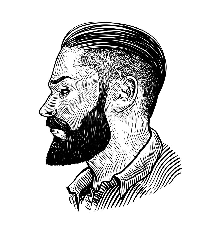 Hand Drawn Portrait Of Bearded Man In Profile. Hipster