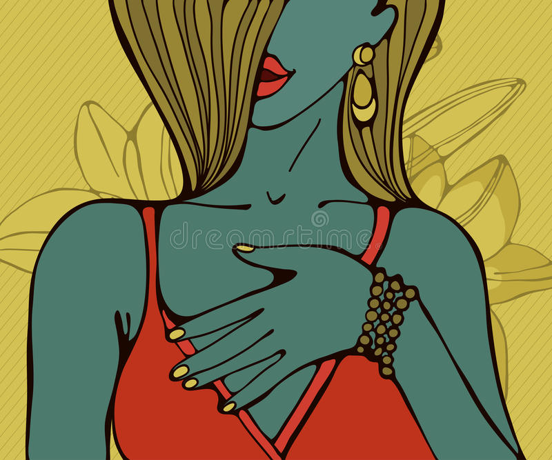 Hand drawn portrait of a beautiful sensual woman vector illustration