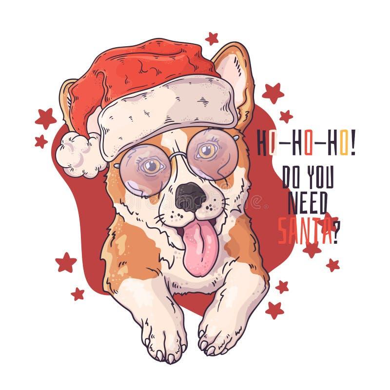 Ho Ho Ho Corgis Holiday Greeting Cards corgis on bright red background