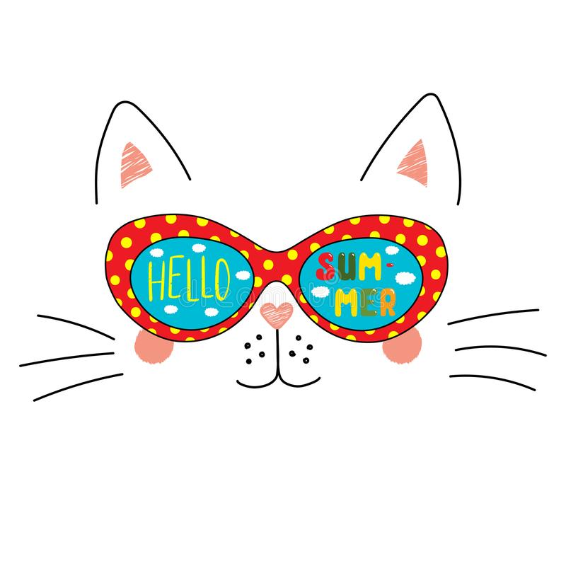 Hand Drawn Portrait Of A Cute Cartoon Funny Cat In Sunglasses With Clouds  In The Sky Reflection, Text Hello Summer. Isolated Objects On White  Background.