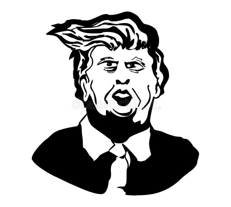 Donald Trump.Vector portrait of Donald Trump. Hand drawn portrait Donald Trump.Vector face drawing of Donald Trump royalty free illustration