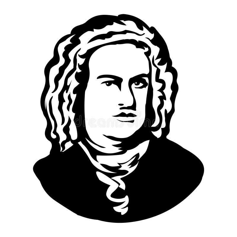 Johann Sebastian Bach.Vector portrait of Mark Twain vector illustration