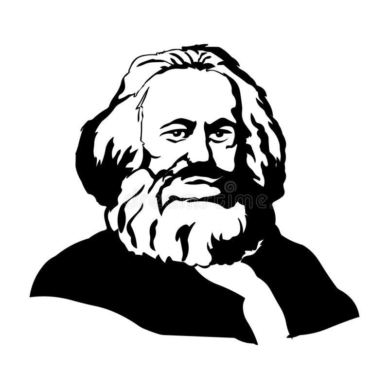 Karl Marx.Vector portrait of Karl Marx. Hand drawn portrait Karl Marx.Vector face drawing of Karl Marx vector illustration
