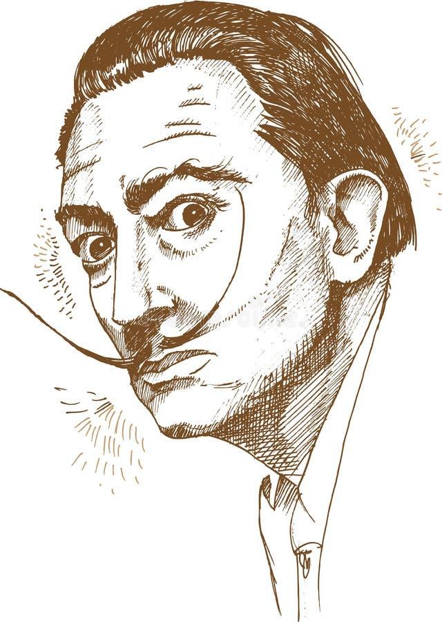 Hand drawn portrait of salvador dali. Illustration royalty free illustration