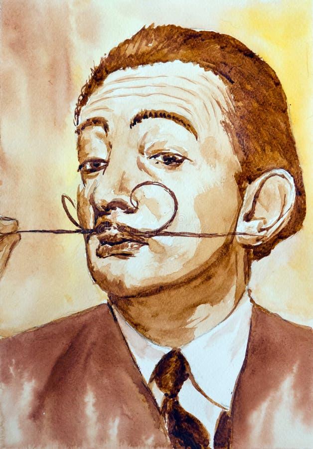 Hand drawn portrait Salvador Dali. Hand drawn watercolor and coffee portrait with famous artist Salvador Dali vector illustration