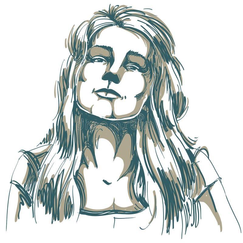 Hand-drawn portrait of white-skin flirting woman, face emotions. Theme illustration. Beautiful lady posing on white background vector illustration