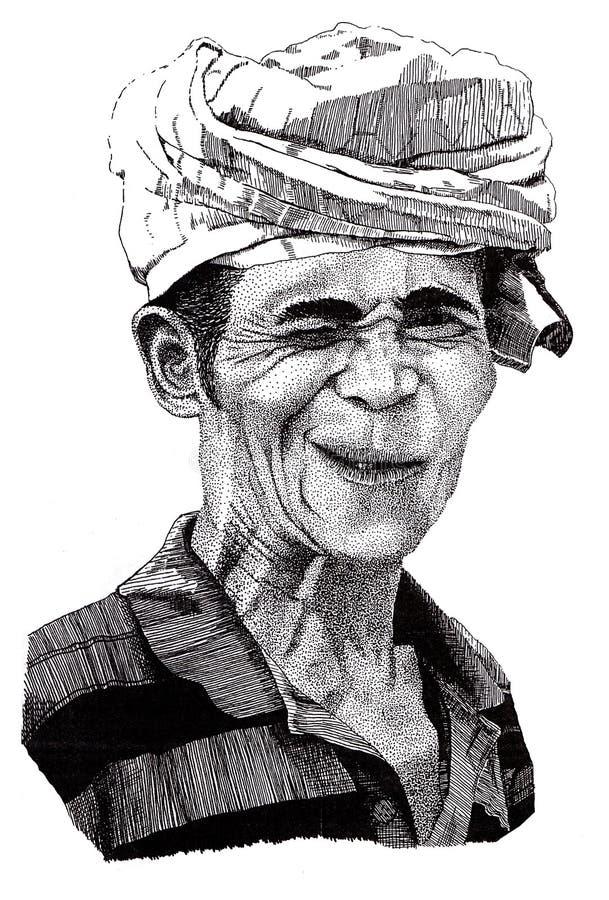 Hand drawn portrait of winking man royalty free illustration