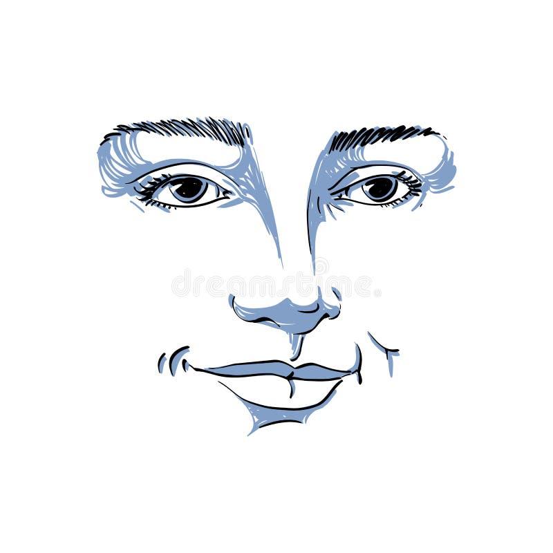 Hand-drawn portret van wit-huid flirtende vrouw, gezichtsemoties stock illustratie