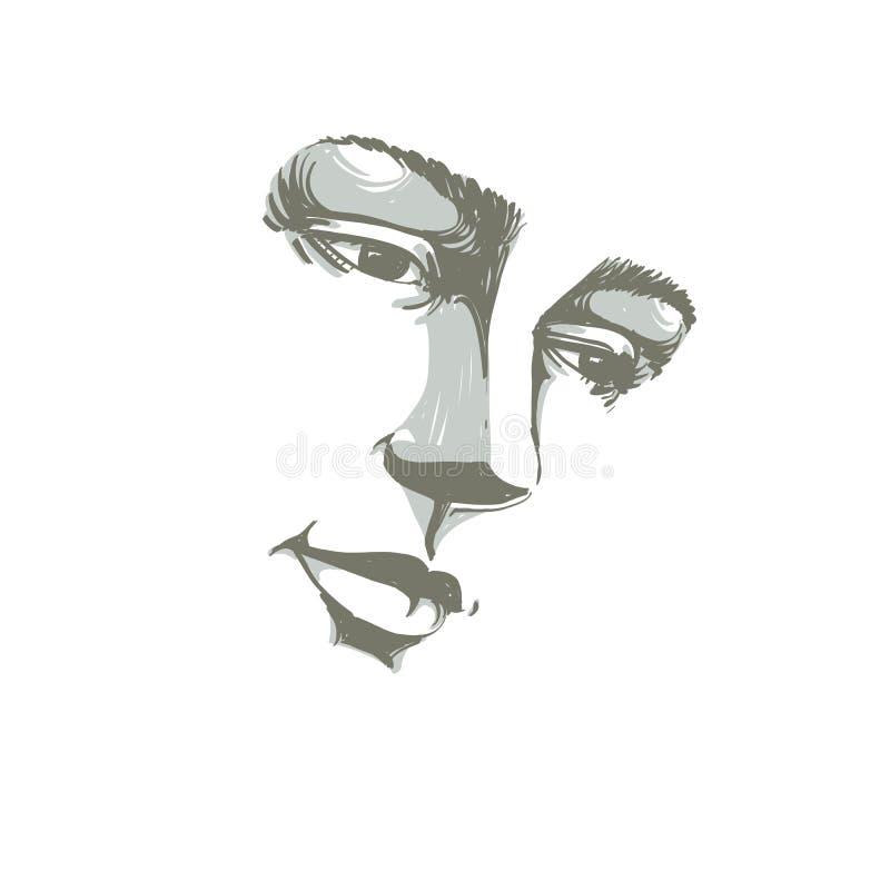 Hand-drawn portret van wit-huid treurige vrouw, droevig gezicht emot stock illustratie