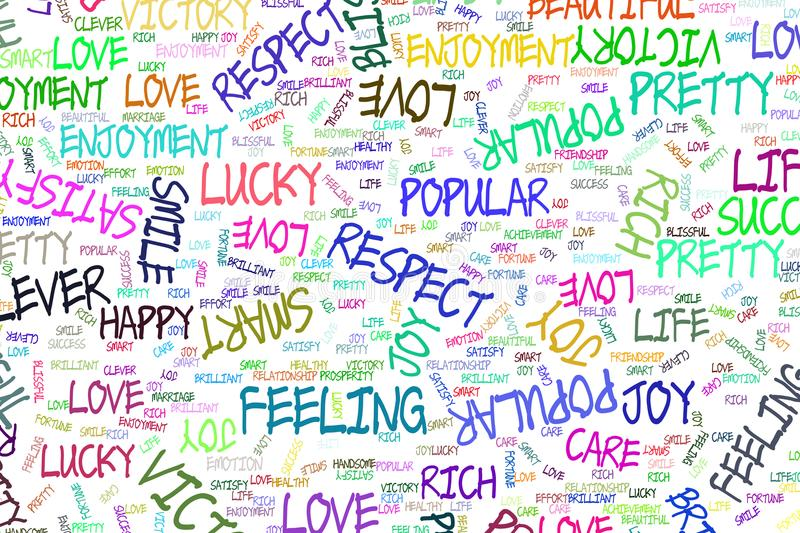 Hand drawn positive emotion word cloud illustrations background, good for graphic design, flyers, wallpapers or booklets. stock illustration