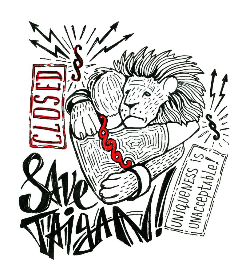 Hand-drawn poster inspired by the closure of the unique Crimean safari park `Taigan`. Primitive style drawing and royalty free stock photo