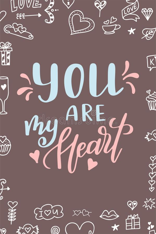 Hand drawn poster with love elements. Brush calligraphy. Happe Valentines Day. Vector illustration royalty free illustration