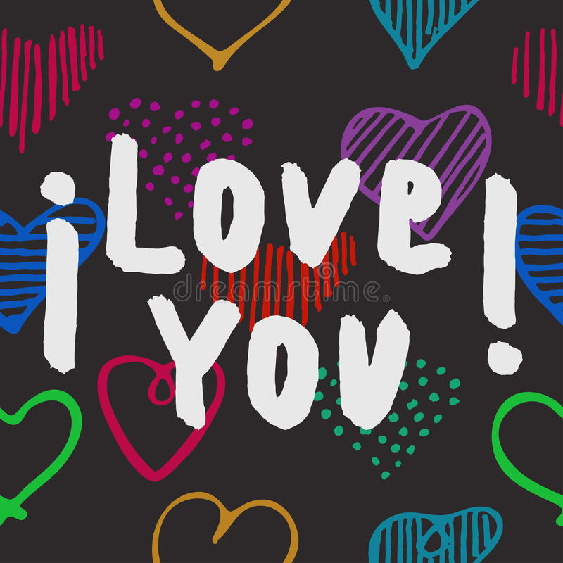 Free Hand Drawn Poster With Lettering I Love You Stock Images - 85453864